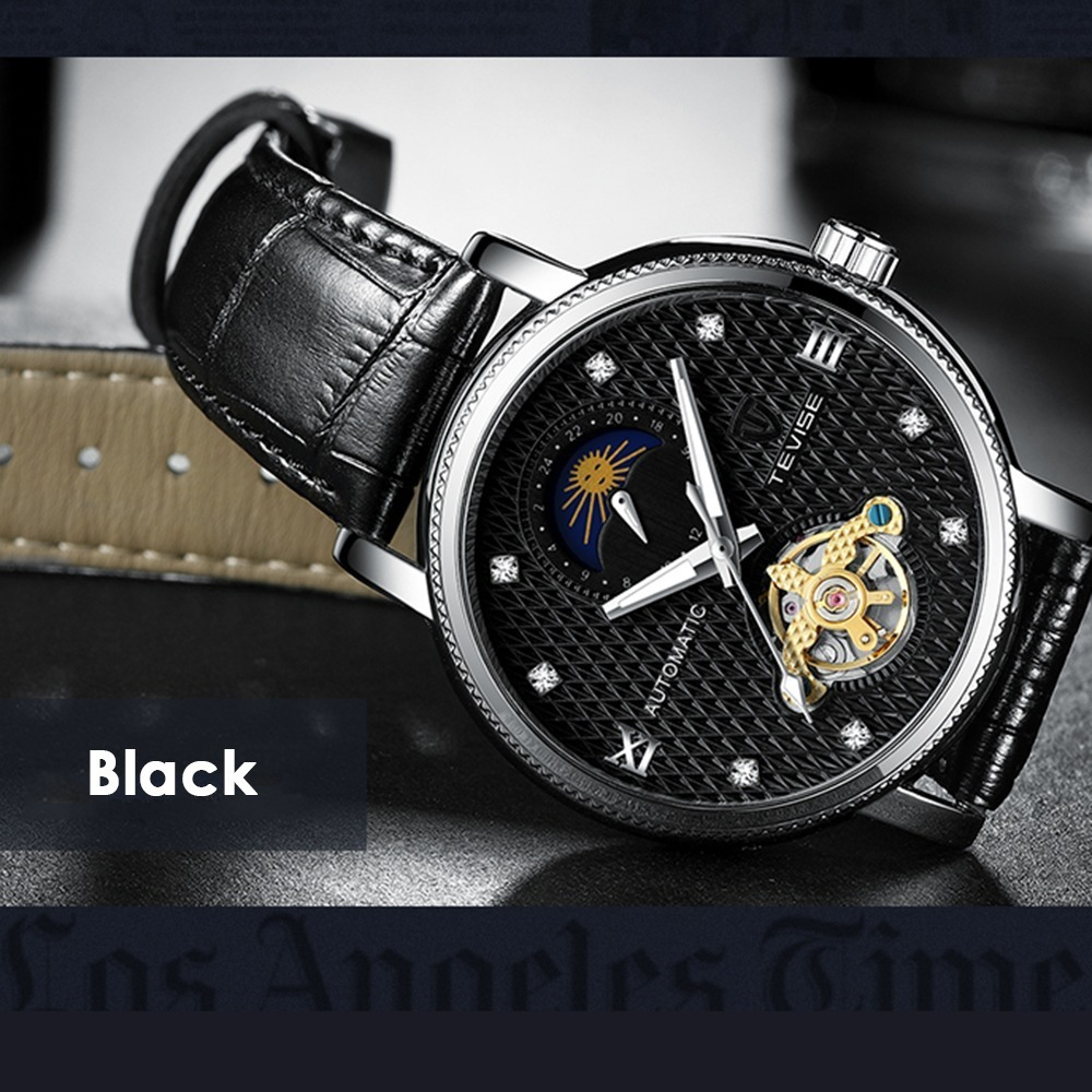 【送料無料】メンズ高級腕時計 機械式 自動巻 トゥールビヨン ムーンフェイズ表示 本革ベルト 紳士 ビジネス 夜光 防水 ブラック*_画像4