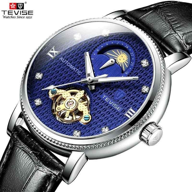 【送料無料】メンズ高級腕時計 機械式 自動巻 トゥールビヨン ムーンフェイズ表示 本革ベルト 紳士 ビジネス 夜光 防水 ブラック*_画像1