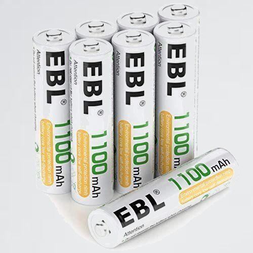 新品 未使用 単4電池 EBL 4-M8 単四電池 充電池 充電式電池 1100mAhニッケル水素充電式電池、収納ケ-ス付き8パック_画像1