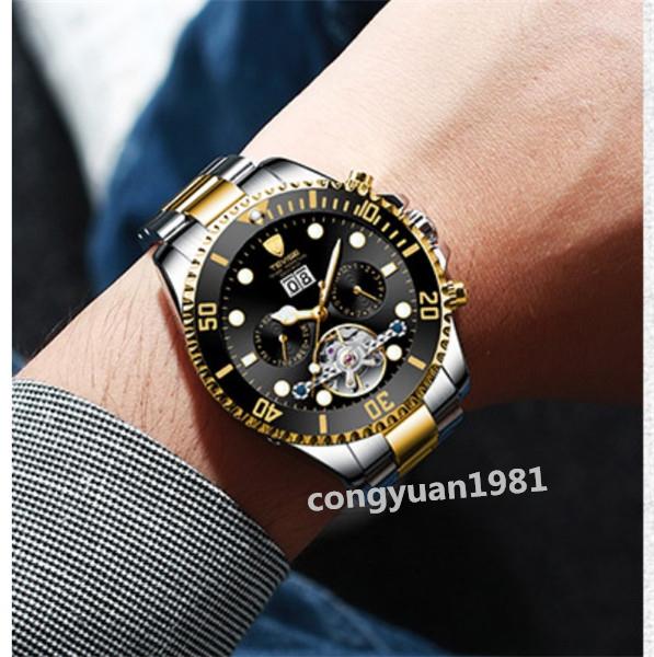 【人気】 メンズ高級腕時計 機械式自動巻 トゥールビヨン カレンダー 曜日表示 夜光 防水 紳士ウォッチ 仕事 6色選択 G/B_画像8