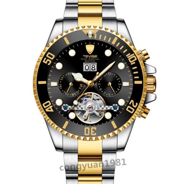 【人気】 メンズ高級腕時計 機械式自動巻 トゥールビヨン カレンダー 曜日表示 夜光 防水 紳士ウォッチ 仕事 6色選択 G/B_画像5