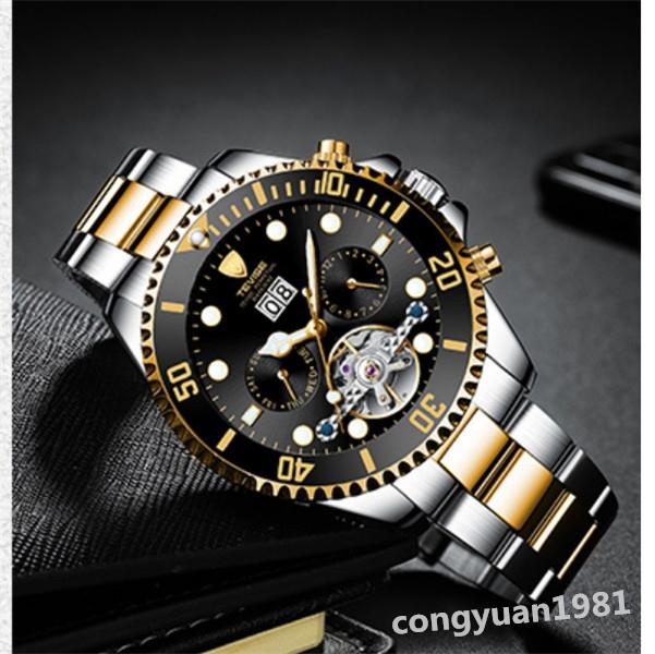 【人気】 メンズ高級腕時計 機械式自動巻 トゥールビヨン カレンダー 曜日表示 夜光 防水 紳士ウォッチ 仕事 6色選択 G/B_画像3