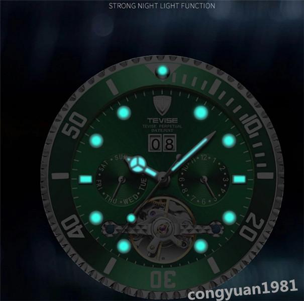 【人気】 メンズ高級腕時計 機械式自動巻 トゥールビヨン カレンダー 曜日表示 夜光 防水 紳士ウォッチ 仕事 6色選択 G/B_画像2