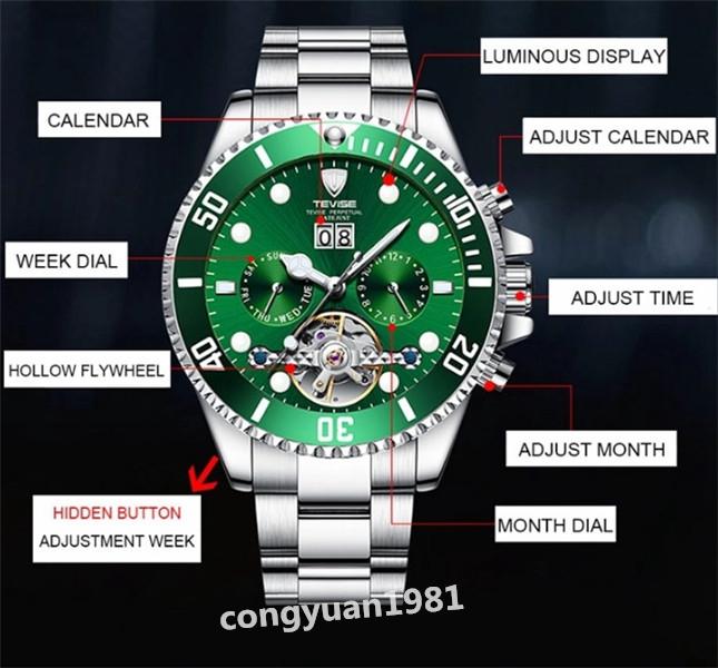 【人気】 メンズ高級腕時計 機械式自動巻 トゥールビヨン カレンダー 曜日表示 夜光 防水 紳士ウォッチ 仕事 6色選択 G/B_画像7
