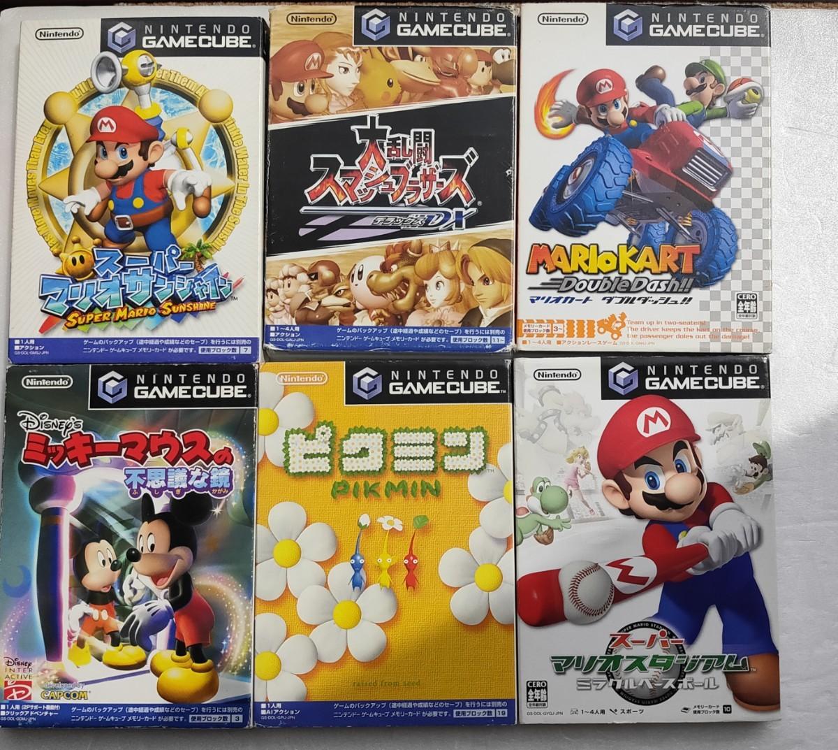 ゲームキューブソフト 6本セット(スーマリ、マリカー、スマブラ、ピクミンほか)