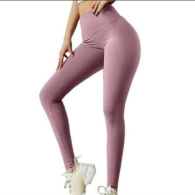 ヨガウェア リボン レギンスパンツ 着圧 スパッツ ピンク Sサイズ フィットネス  美尻 ヒップアップ 美脚 レギンス