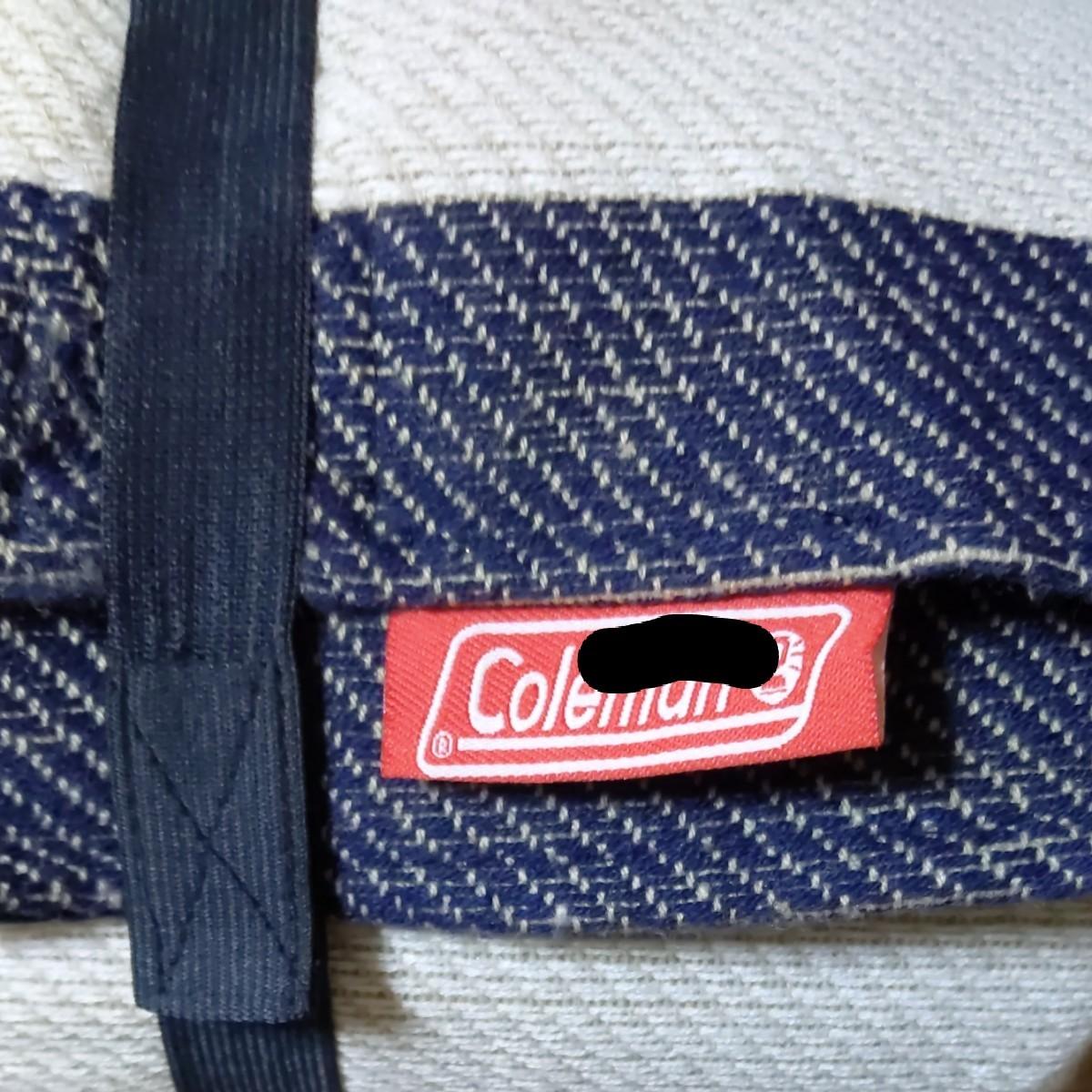 Coleman(コールマン)レジャーシート ネイビー×ホワイト 太ボーダー インナーシート 持ち手付 クッション性 記名有り