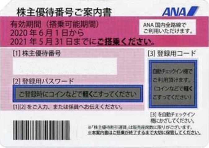 【番号通知・クレカOK・1時間以内通知確約(6~22時まで)】ANA 全日空 全日本空輸 株主優待券 1枚 (延長後有効期限2021年11月30日)②_画像1