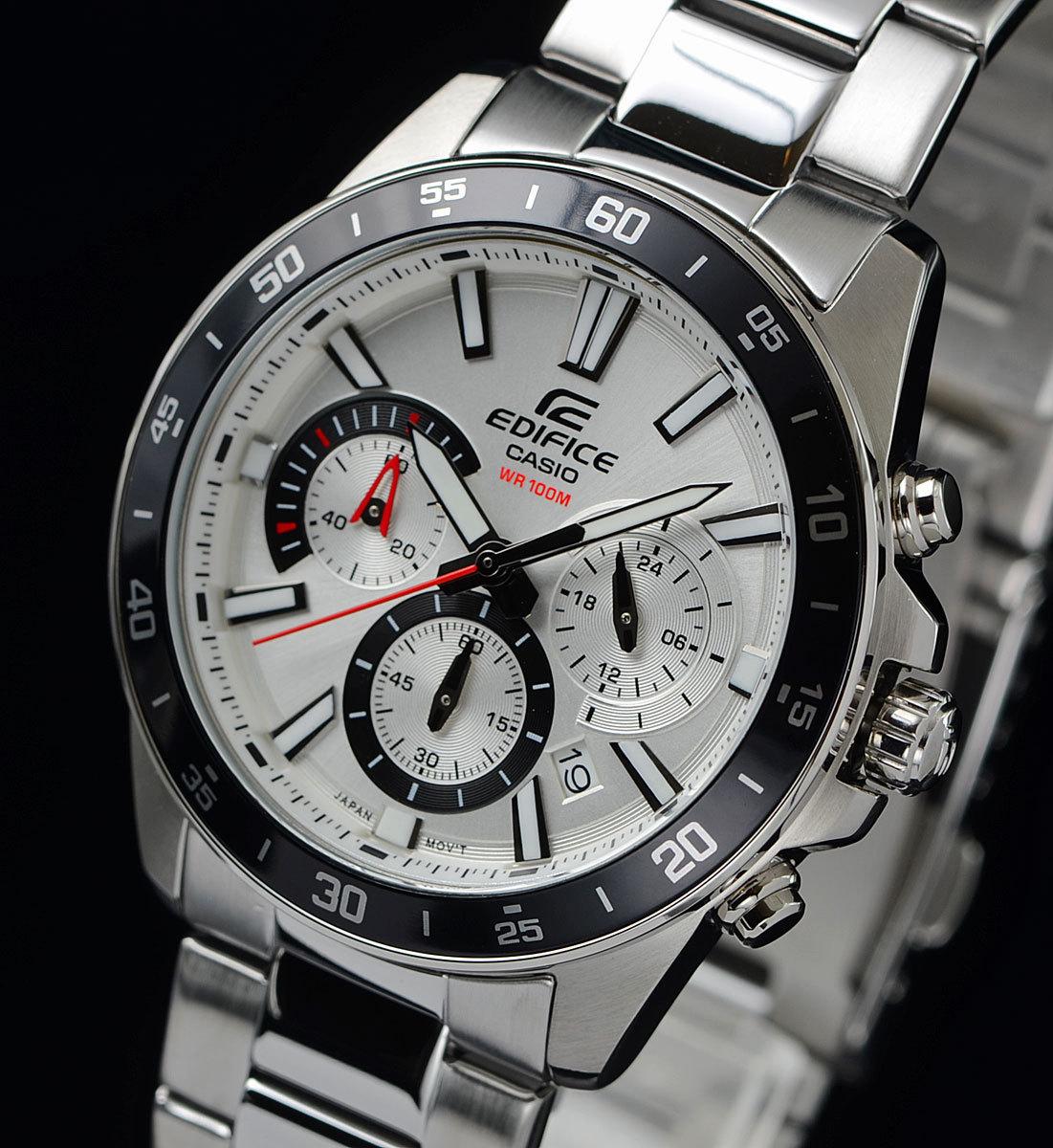 1円×3本 カシオ逆輸入EDIFICEエディフィス欧米モデル 精悍メタリックシルバー 100m防水 クロノグラフ 腕時計 新品 未使用 CASIO メンズ