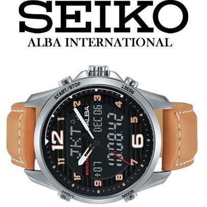 1円×3本 セイコーALBA逆輸入 デジアナ 100m防水 クロノグラフ ワールドタイム アラーム 新品メンズ激レア入手困難 日本未発売 SEIKO腕時計_画像1
