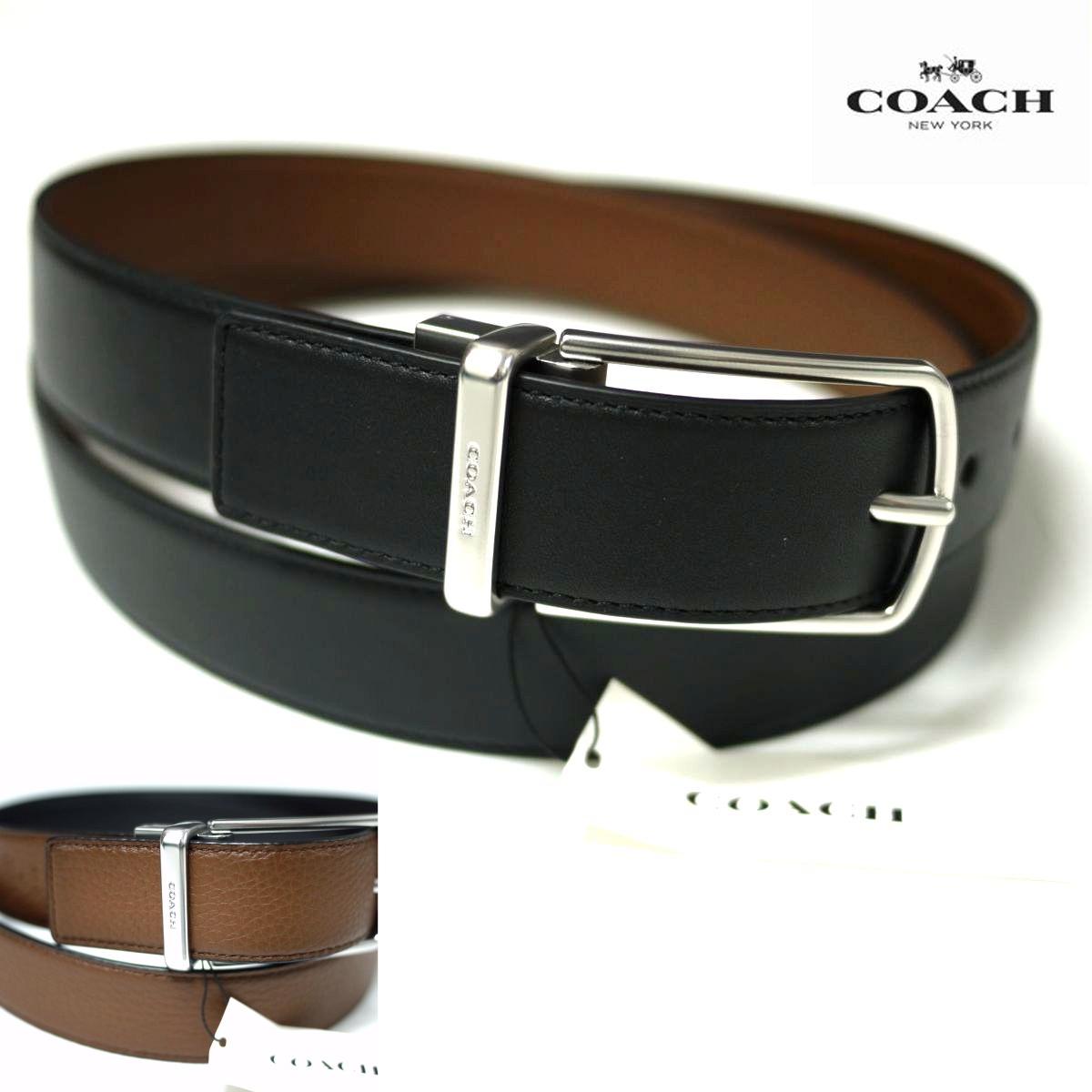 新品COACH コーチ リバーシブル ベルト (ブラック・スムースレザー/ブラウン・ぺブルレザー) サイズ調整可能 メンズ /j2