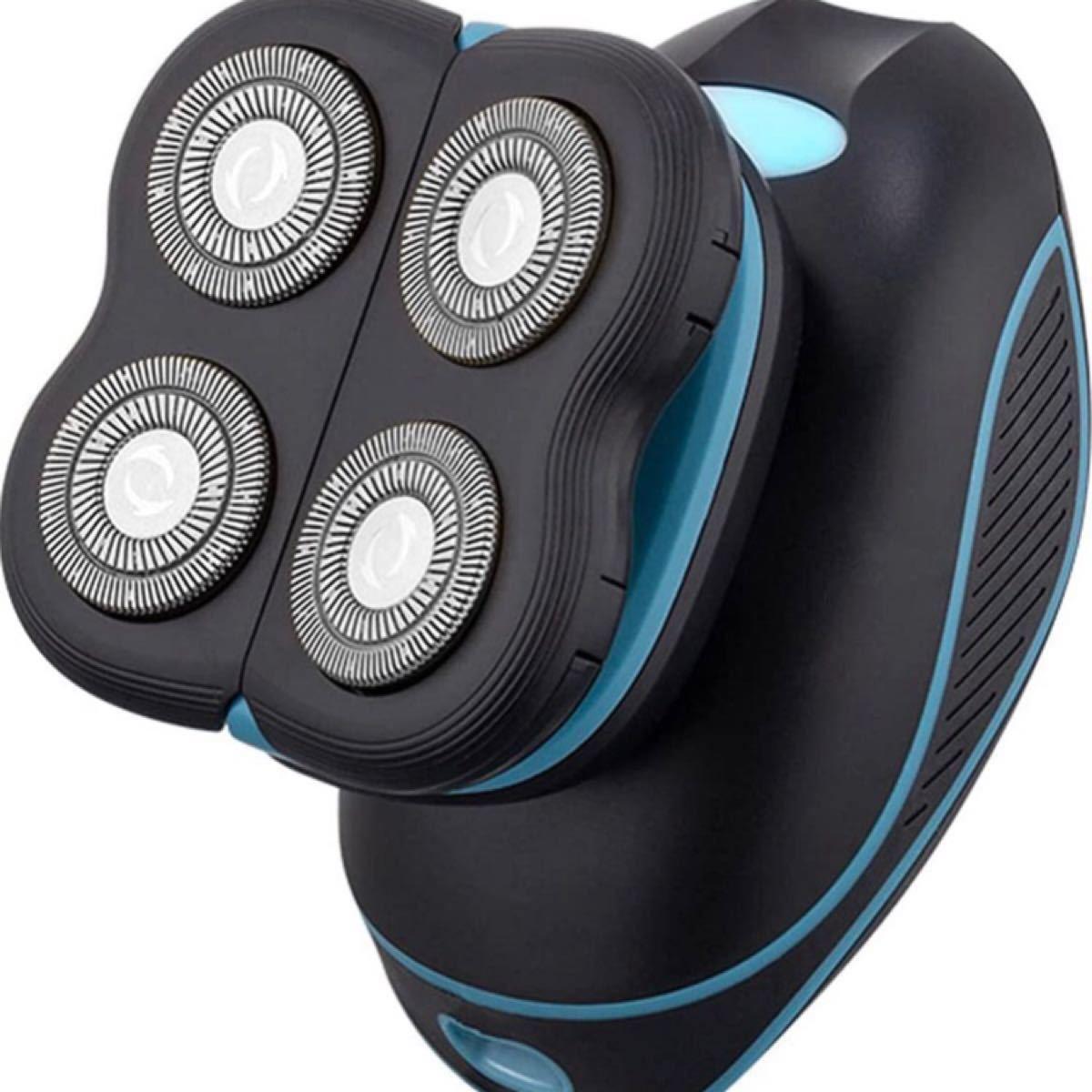 メンズ 電気シェーバー ひげそり メンズ 回転式 4枚刃 USB充電式 IPX7防水 お風呂剃り可 LEDディスプレイ