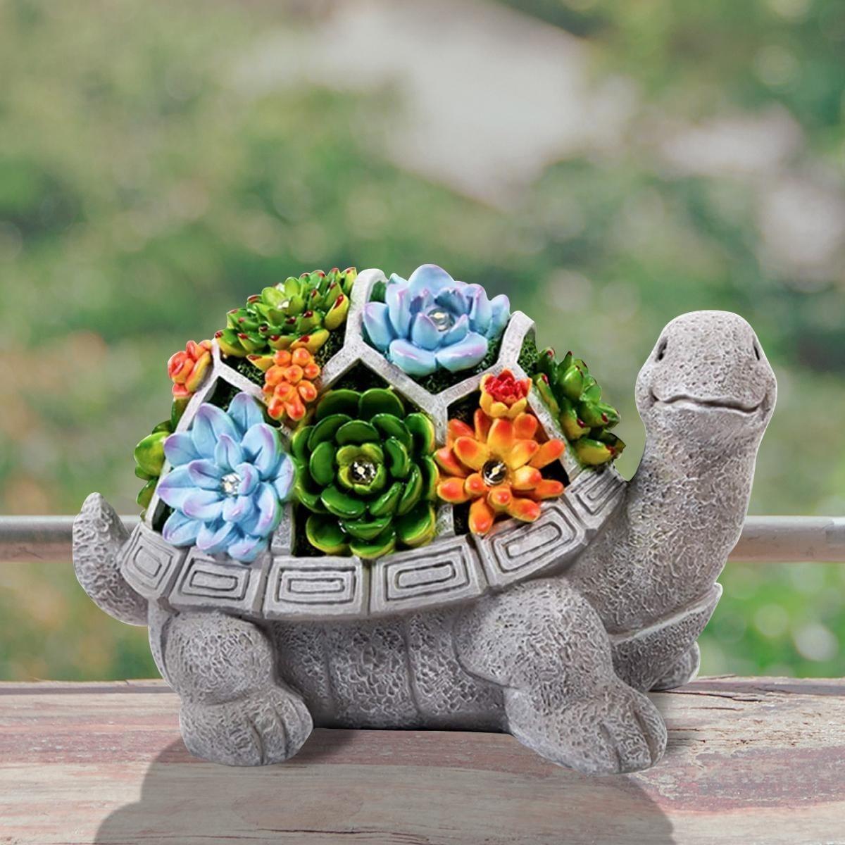 愛嬌ある表情●亀 オブジェ タートル かわいい ライト 屋外 庭 ガーデンライト 庭園 サボテン 多肉植物 飾り 置物 電気 照明 アート bb61_画像1