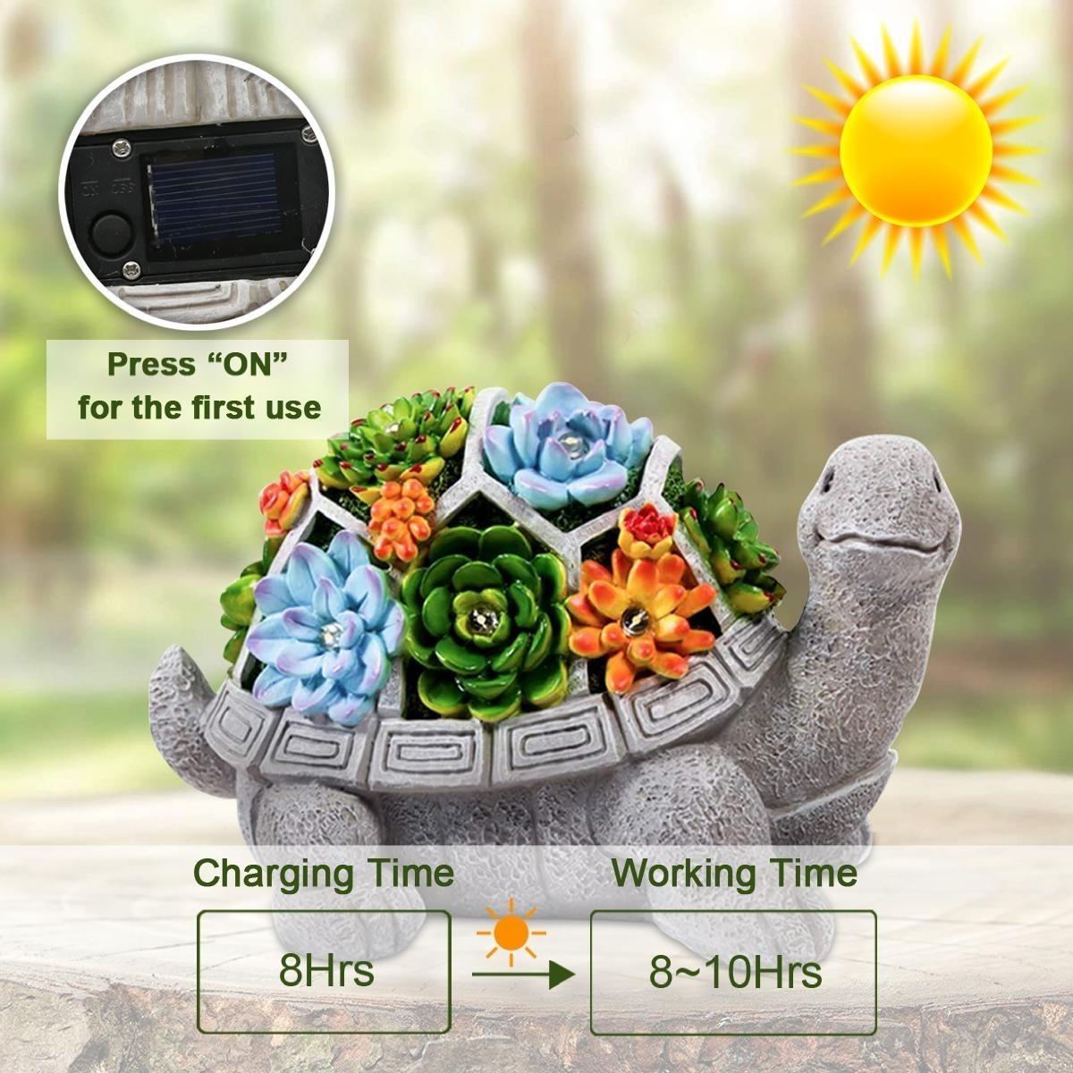 愛嬌ある表情●亀 オブジェ タートル かわいい ライト 屋外 庭 ガーデンライト 庭園 サボテン 多肉植物 飾り 置物 電気 照明 アート bb61_画像4