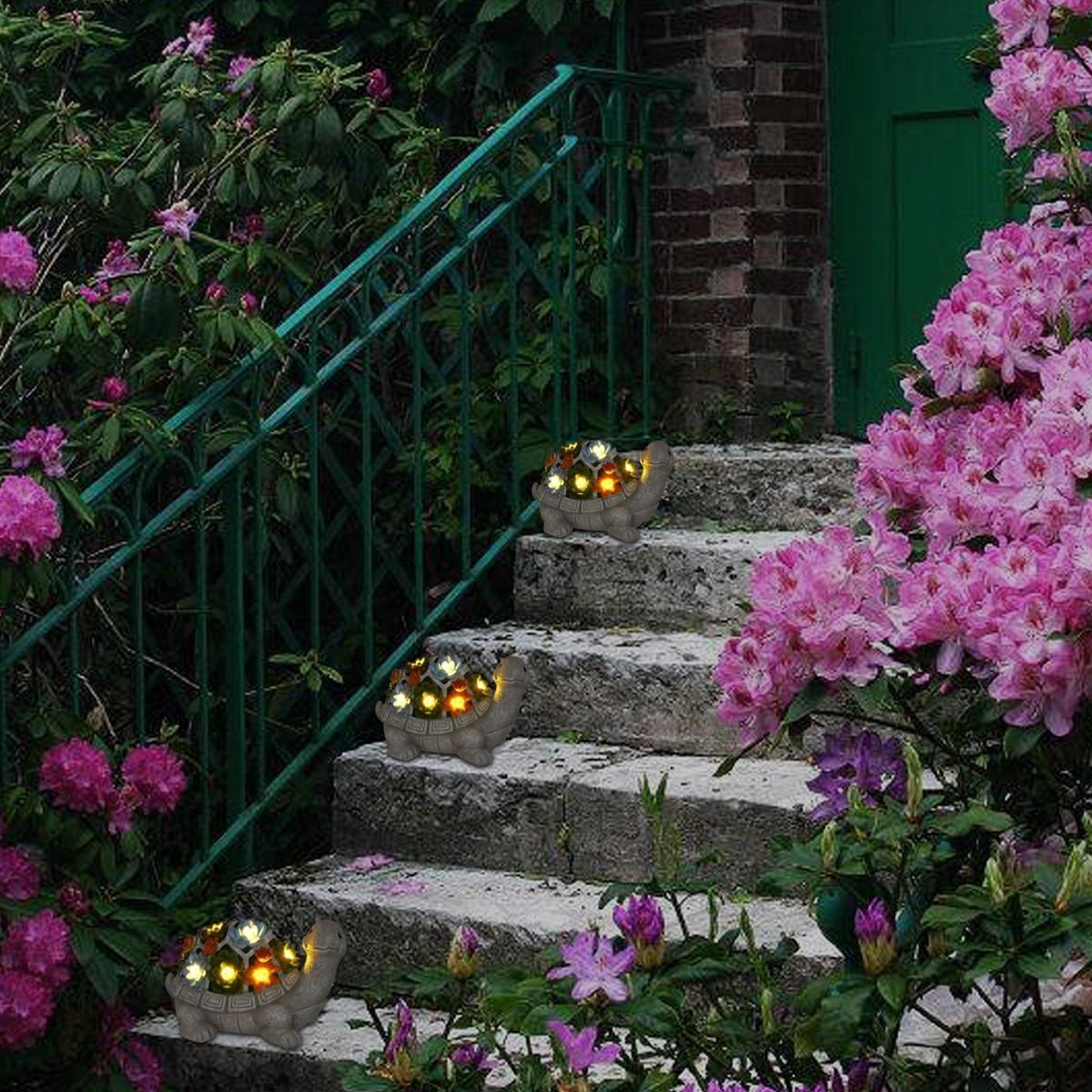 愛嬌ある表情●亀 オブジェ タートル かわいい ライト 屋外 庭 ガーデンライト 庭園 サボテン 多肉植物 飾り 置物 電気 照明 アート bb61_画像5
