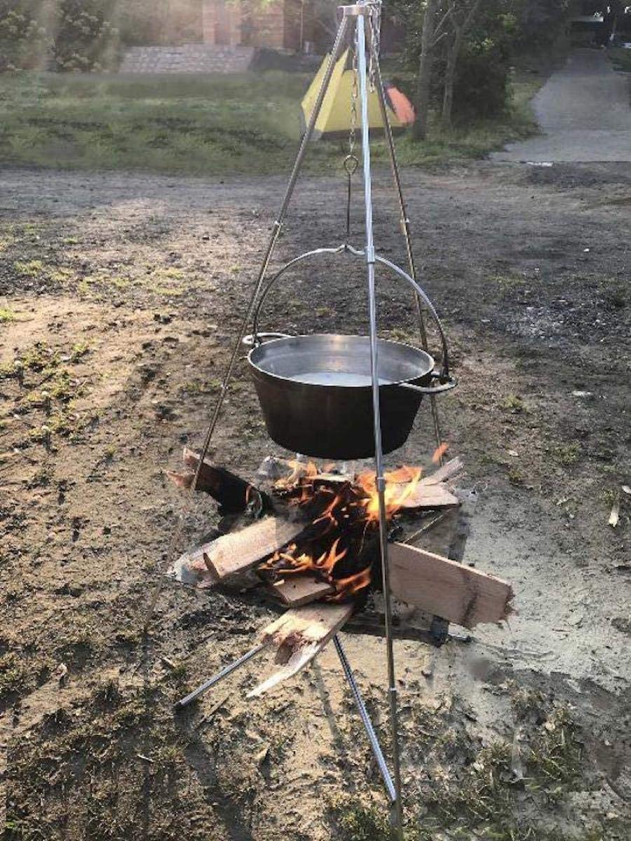 CAMPING MOON キャンピングムーン トライポッド ブロンズ 高さ4段 ケース付MS-105 焚火料理 アウトドア