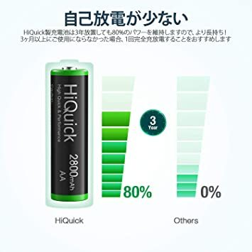 単3形 HiQuick 電池 単3 充電式 単3充電池 ニッケル水素 充電池 2800mAh 8本入り ケース2個付き 約120_画像2