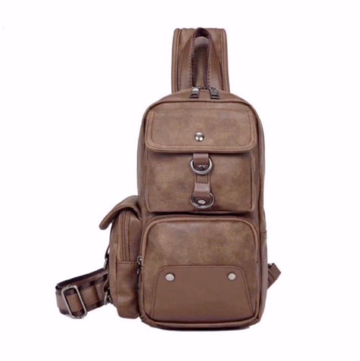 ボディバッグ メンズバッグ 斜め掛けバッグ 高品質 大容量 ボディバッグ 多機能 ブラウン