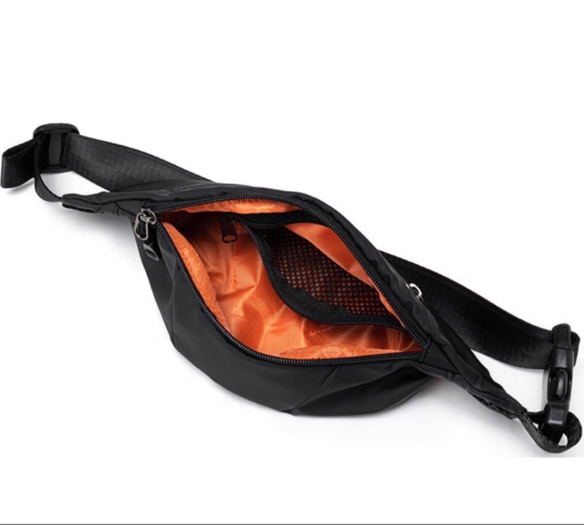 ウエストバッグ ウエストポーチ ボディバッグ BLACK 黒 防水加工 男女兼用  高品質 頑丈 ブラック