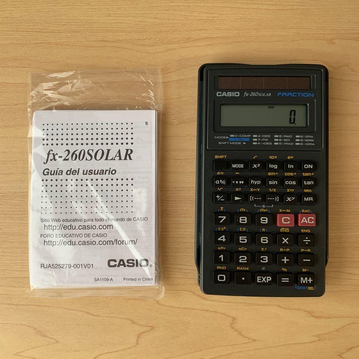 新品 未使用 CASIO カシオ 関数電卓 fx-260 SOLAR ブラック
