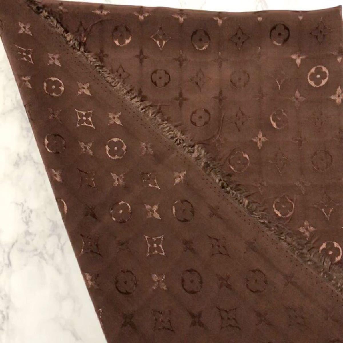 生地 布地 モノグラム 柄 ブラウン 約150×100 cm ノーブランド ハギレ はぎれ