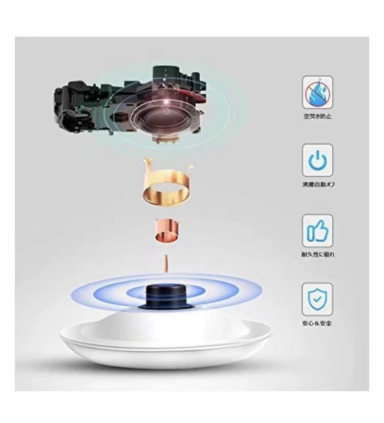電気ケトル 自動電源オフ 1200W高速沸騰 ガラスケトル 1.2L大容量 火傷防止電気ポット ホワイト