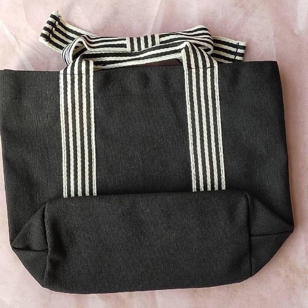 トートバッグ リボン ブラック 黒 ミニトート ランチバッグ キャンバス ボーダー