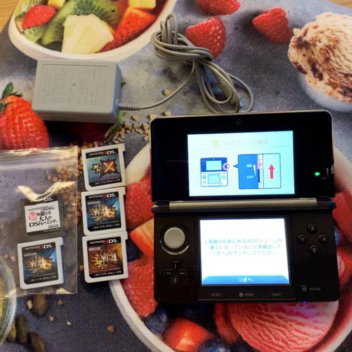 ニンテンドー3DS本体 充電器、モンハン4、4G.2枚、x、脳トレソフト