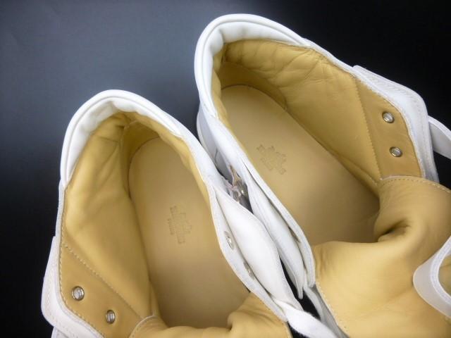 ◆本物保証◆エルメス◆HERMES◆メンズ/ハイカット/スニーカー/レザー/シューズ/靴/革靴/ホワイト/白革/くつ/27㎝前後(43)☆★新品同様★☆_ふわふわのソフトレザーが足を包みます♪
