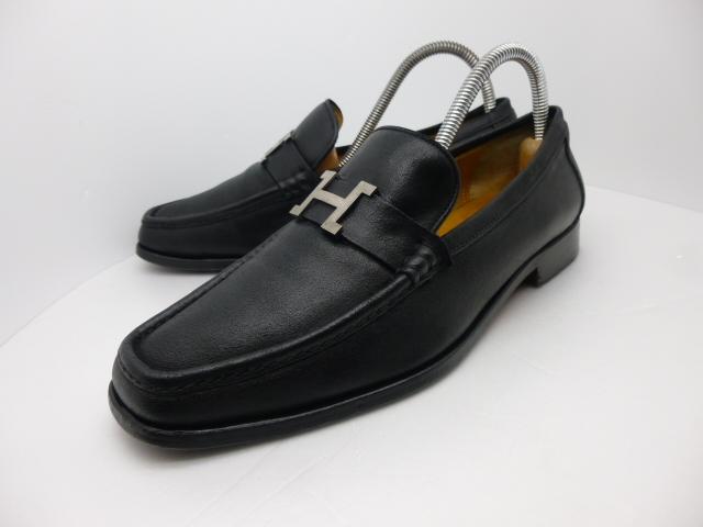 ■本物保証■エルメス/hermes/メンズ/カチカチ/ビジネス/ローファー/ドレス/モカシン/レザー/シューズ/靴/革靴/黒/27~27.5cm★☆美品☆_美しいシルエットからオーラが漂います。