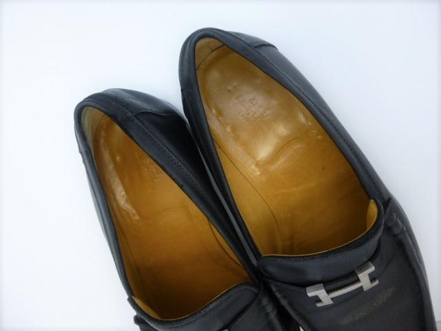 ■本物保証■エルメス/hermes/メンズ/カチカチ/ビジネス/ローファー/ドレス/モカシン/レザー/シューズ/靴/革靴/黒/27~27.5cm★☆美品☆_総革仕立てのインナーが足を包みます。