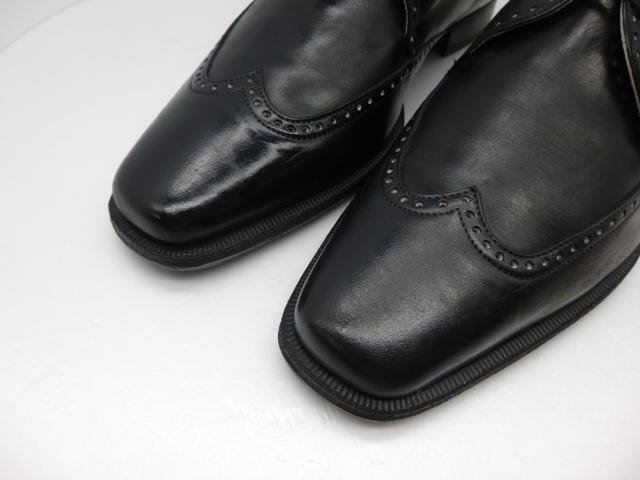 ◆本物保証◆エルメス■hermes■通気仕様■メンズ/ビジネス/ウイングチップ/ドレス/レザー/シューズ/靴/革靴/黒革/26.5~27cm★☆良品☆★_高貴なウイングチップデザインです。