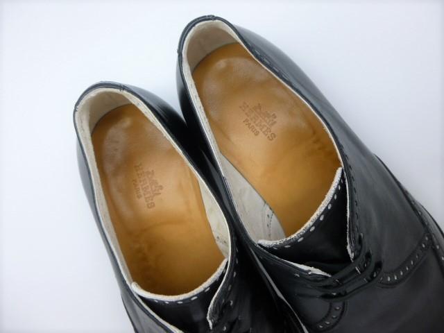 ◆本物保証◆エルメス■hermes■通気仕様■メンズ/ビジネス/ウイングチップ/ドレス/レザー/シューズ/靴/革靴/黒革/26.5~27cm★☆良品☆★_インサイドまでがバックスキン仕様です!