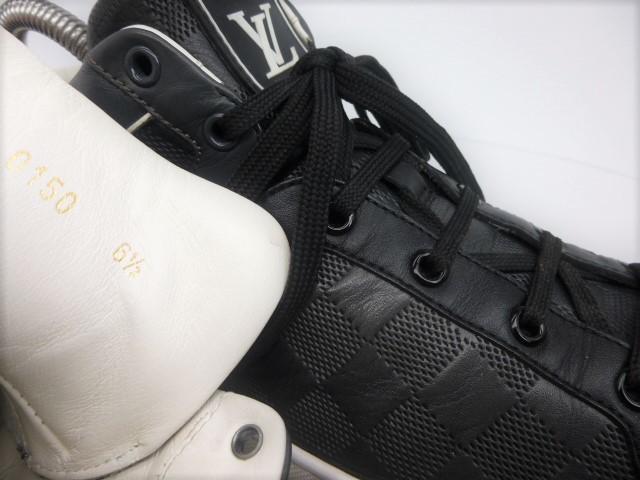 ◆本物保証◆ルイ・ヴィトン◆メンズ/ダミエ/ハイカット/スニーカー/レザー/シューズ/革靴/くつ/黒/ブラック/26~26.5㎝☆★美品★☆_偽物注意!シリアル番号を確認しましょう。