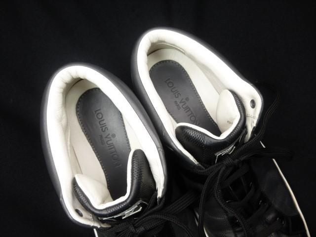 ◆本物保証◆ルイ・ヴィトン◆メンズ/ダミエ/ハイカット/スニーカー/レザー/シューズ/革靴/くつ/黒/ブラック/26~26.5㎝☆★美品★☆_ふわふわのソフトレザーが足を包みます♪