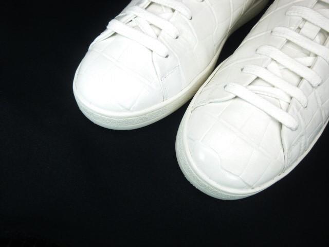 ◆本物保証◆ルイ・ヴィトン◆メンズ/クロコダイル/スニーカー/ドレス/シューズ/ホワイト/白革/レザー/くつ/革靴/26.5~27㎝☆★美品★☆_美しいクロコダイル(型押)が絶品です!