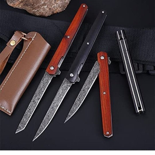 フォールディングナイフ ダマスカス キャンプ アウトドア