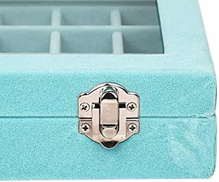 空色 SPIEA 24区画 アクセサリーボックス ベルベット調 ジュエリーケース 耳飾り ピアス指輪 ディスプレイ収納ケース (_画像5
