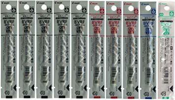 パイロット 油性ボールペン替芯 極細 0.5mm(黒5本+赤3本+青1本+緑1本) BVRF-8EF-B/R/L/G 4種10本_画像1