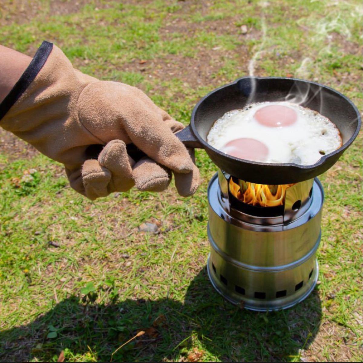 キャンプグローブ レザーグローブ 耐熱グローブ 本革手袋 アウトドア BBQ バーベキュー ストーブ 焚き火台 牛革 防寒
