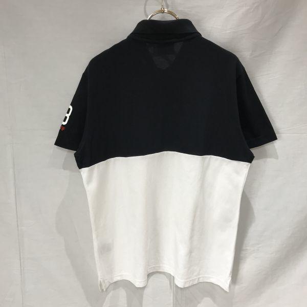 le coq sportif golf ルコック ゴルフ / 半袖 ドライ ポロシャツ トップス カットソー ゴルフウェア / L メンズ / 白 黒 吸汗速乾 デサント_画像2