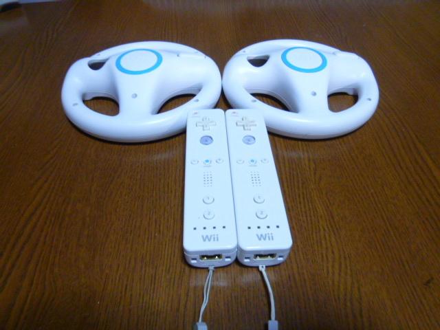 HR0095【送料無料】Wii マリオカート ハンドル リモコン ストラップ 2個セット(動作良好 クリーニング済)