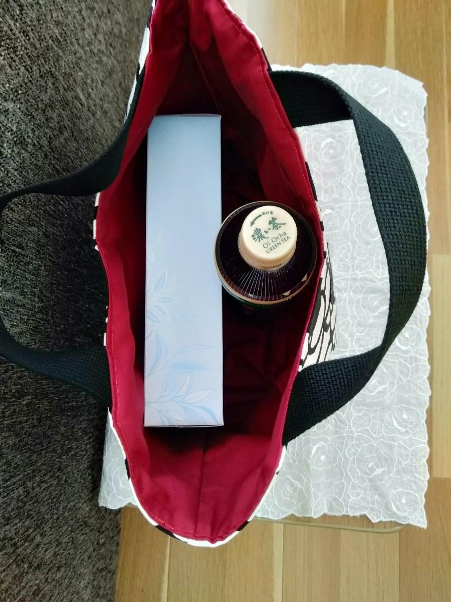 ★ラスト1点 ハンドメイド ミニトートバッグ カメリア柄 サブバッグ お弁当バッグ ハンドバッグ