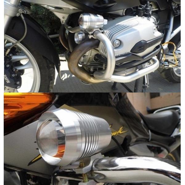 防水 フォグランプ バイク用 LED ヘッドライト 黒 2個セット Hi/Lo デイライト/補助灯/スポットライト/オートバイ_画像4