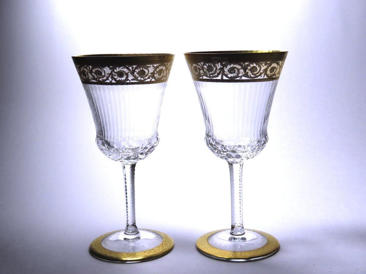 ■サン・ルイ  ペア・ワイングラス  シスル  金彩  thistle   〈同梱対象商品〉
