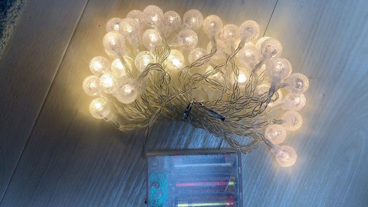 キャンプ ガーランド ライト 、イルミネーション バブルボール 電池式 40球 4.5m 電球色 LED