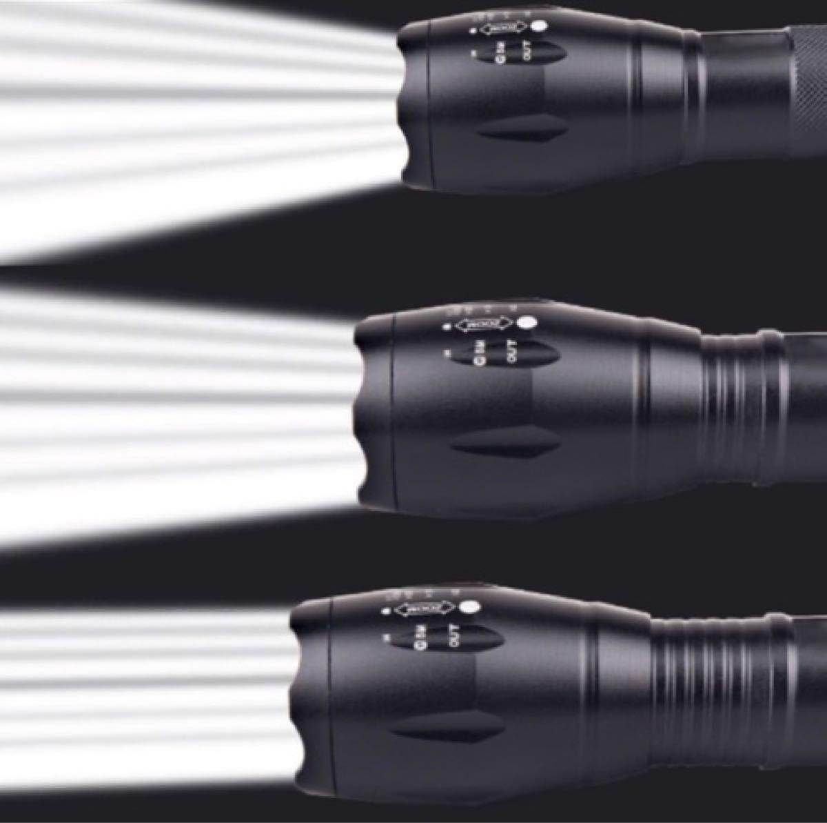 USBケーブル付き☆懐中電灯 led USB充電式 強力充電 防水 携帯