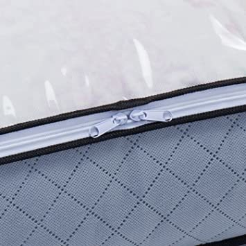羽毛布団収納袋 シングル用 活性炭消臭 薄型コンパクト アストロ 羽毛布団 収納袋 シングル用 グレー 不織布 活性炭消臭 コン_画像5