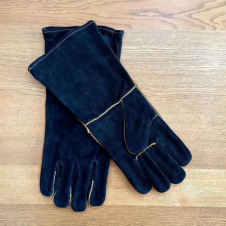 キャンプグローブ 革手袋 耐熱グローブ 焚火 アウトドア ブラック