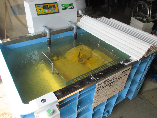 新米できました 白米20kg 令和3年産米 岩手県奥州市前沢産ひとめぼれ 農家直売_温湯消毒器で種籾を消毒しました。